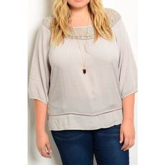 BOGO 50% Plus Size Lace 3/4 Sleeve Top Adorable light gray! Comment with your size when you're ready to purchase! Tops Blouses