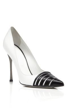 Sergio Rossi White & Black Claire Pumps on Moda Operandi