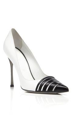 Shop White & Black Claire Pumps by Sergio Rossi for Preorder on Moda Operandi