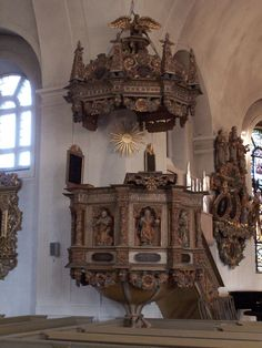 The pulpit in Söderhamn church, Sweden