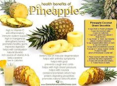 Health Benefits of Pineapple. Gotta try this pineapple coconut green smoothie recipe Pineapple Health Benefits, Coconut Health Benefits, Fruit Benefits, Pepper Benefits, Health And Wellness, Health Tips, Nutrition Tips, Protein Nutrition, Health Care