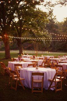 Southern weddings - string light reception