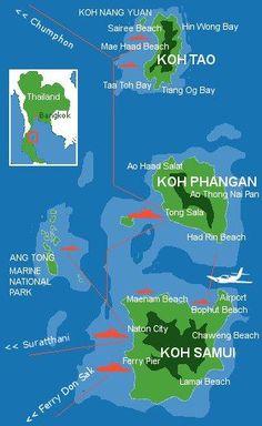 Karte Koh Phangan im Ang-Tong National-Park Mehr