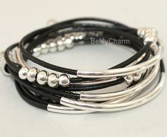 Leather Triple Wrap Boho Bangle Bracelet  Leather by BeMyCharm, $29.50