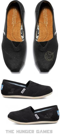 Custom Embroidered The Hunger Games inspired TOMS shoes