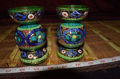 Two Mosaic Handprinted w/ Gold Candle Holders Lavorato A Mano In Oro Zecchino