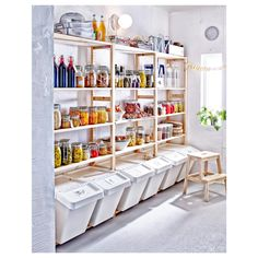 Wooden Rack Open Shelves Kitchen Ideas Botles Mugs Cups Jar Glass Walnut Barstool Oven Dish Ikea Kitchen Shelves – Form And Function Perfectly Combined Part 2 Kitchen Pantry Design, Diy Kitchen, Kitchen Ideas, Kitchen Pantry Storage, Pantry Diy, Open Pantry, Hidden Pantry, Kitchen Pantries, Pantry Room