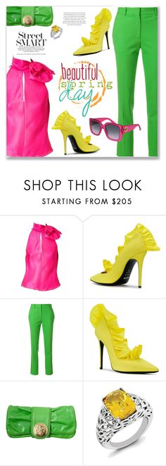 """""""Street Chic:  Ruffles Pumps"""" by jecakns ❤ liked on Polyvore featuring MSGM, Victoria Beckham and Gucci"""
