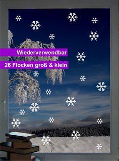Wiederverwendbar! Schneefall Mix - Fenstertattoo - ein Designerstück von CatrinKerschl bei DaWanda
