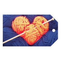 #Cute wool heart with knitting needle photograph gift tags - #knitting #gifts