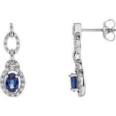 14K White Blue Sapphire & 1/4 CTW Diamond Earrings
