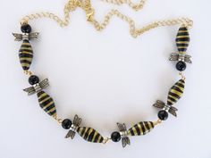 Bumble bee paper bead necklace.