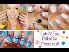 Polka Dot Manicures - 1) french tips, 2) contrasting black/white, 3) confetti effect