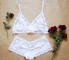 White lace lingerie set with soft triangle bralette and lace panties