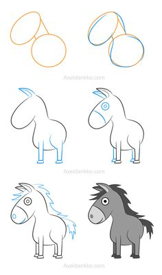 How to draw a donkey - Comment dessiner un âne