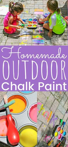 Looking for some fun outdoors this summer? My girls love making this easy DIY Outside Chalk Paint! The perfect outdoor chalk paint recipe for a science and art lesson that kids will love! Bring crafts for kids outdoors! Summer Crafts For Kids, Diy Projects For Kids, Diy For Kids, Craft Kids, Easy Kids Crafts, Diy Crafts, Crafts For Girls, Kids Fun, Kids Girls