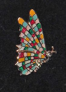Ciner New York Rich Enamel and Crystal Butterfly Vintage