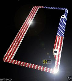 american military usa flag diamond rhinestone license plate frame new avlisco