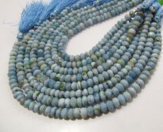 High Quality Natural Blue Opal Beads / Rondelle by MartynDesigns