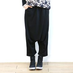 Pocketed Cotton Harem Pants
