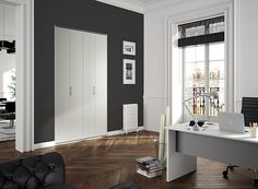kazed portes de placard coulissantes karma 1 miroir argent et verre laqu blanc pur salle de. Black Bedroom Furniture Sets. Home Design Ideas