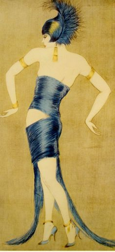 LOUIS ICART-ERA Art Deco PRINT From Orig Fr Etching VALA MORO 20s-30s DANCE Gay #ArtDeco