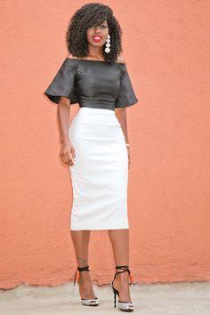 Style Pantry | Short Flare Sleeves Blouse Pencil Midi Skirt