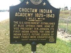 Sign for the Choctaw Indian Academy -  open 1825 to 1843