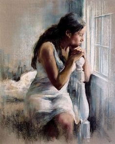 """Cayetano de Arquer Buigas"" -- A girl looking out the window, perhaps she's waiting, perhaps she's thinking. I like how she looks as though she could spring up and run down to the door at any moment."