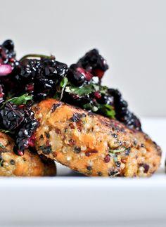 Sweet Potato Quinoa Cakes with Blackberry Salsa | howsweeteats.com