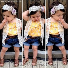 cute spring/summer attire for my little fashionista. Baby Outfits, Outfits Niños, Little Girl Outfits, Little Girl Fashion, My Little Girl, My Baby Girl, Little Princess, Toddler Outfits, Kids Outfits