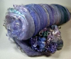 Lilac Opal Wild Card Bling Batt for spinning and by yarnwench