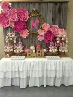 Candy Bar baby Shower flowers gold Pink