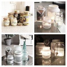 DIY Waxinepotjes - glazen babypotjes - spuitverf - plakplastic/plakband  - touw - (plak) kant - decoratie