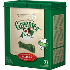 Fight plaque and tartar build up with Greenies Canine Dental Chews, these chews are a fun and easy way to maintain a winning smile.