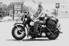 Motorcycle Posters, Girl Motorcycle, Lady Biker, Biker Girl, Vintage Motorcycles, Harley Davidson Motorcycles, Chicks On Bikes, Vintage Biker, Biker Style