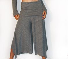 Stealth Ninja Capris Grey High-Waisted Wide by HipstarrDesigns