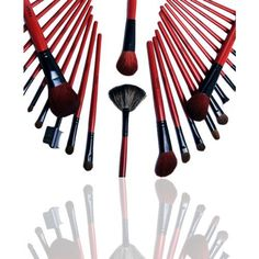 FASH Professional Quality 2012 Series Cosmetic Brush Set with Faux Leather Pouch, Goat and Raccoon, 28-Piece by FASH Limited. $26.99. 28 piece brush set comes with a beautiful shiny roll-up storage pouch with magnetic clasps.. A complete collections - contains all  necessary brushes consisting of face brushes, angled, contour, lip, brow and eye line detailers.. Eco-Friendly - high quality makeup brushes designed for professional use which will give you a  flawless fac...