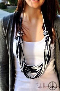 DIY: turn an old fav t-shirt into a necklace.