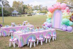 Care Bear Birthday, Baby Girl Birthday, Happy Birthday Me, Rainbow Birthday Party, 4th Birthday Parties, Birthday Celebrations, Simple Birthday Decorations, Birthday Party Centerpieces, Pastel Party