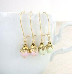 Pastel Swarovski Pearl Dangle Earrings  Antique by ArdentHearts