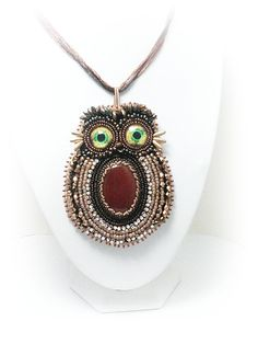 OOAK embroidery handmade agate owl by mysweetcrochet on Etsy, $100.00