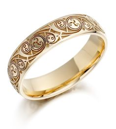 Celtic Wedding Ring – Mens Gold Celtic Spiral Triskel Irish Wedding Band