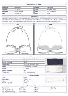 Bikini top basic technical specification #swimwear by Marie Gallagher
