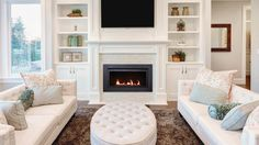 Living Room Layout With Built Ins - Sierra Flame Langley 36 Direct Vent Linear Gas Fireplace Living Room Built Ins, Living Room Shelves, Living Room With Fireplace, Small Living Rooms, Living Room Designs, Modern Living, Simple Living, Small Living Room Ideas With Tv, Living Area
