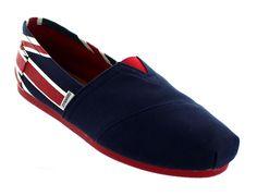 Joy & Mario Womens England Flag Canvas Slip-On Espadrille Flat Shoes Navy