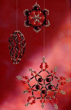 Снежинки из красных бусин / Новогодние изделия / Biserok.org