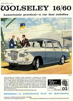 Items similar to Wolseley Car Print Advertising Wall Art on Etsy Classic Motors, Classic Cars, Vintage Advertisements, Vintage Ads, Old Fashioned Cars, Austin Cars, Ad Car, Morris, Ford Galaxie