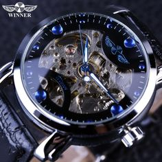 Blue Engraving Clock Men Leather Strap Mens Watches
