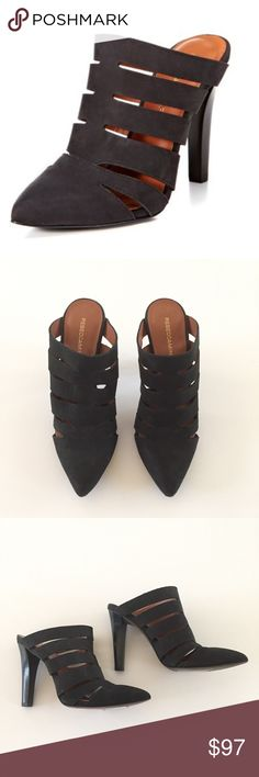 """Rebecca Minkoff Dasa Nubuck Heels Rebecca Minkoff Dasa cut-out Nubuck leather heel shoes. Easy slip on, classic pointed toe. Has minor wear and a few scuffs.    VGUC  Size 6.5  Heel 4""""  Leather   Style - Mules Rebecca Minkoff Shoes Mules & Clogs"""